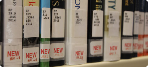 Photograph of new books spines