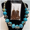 Handmade Blue & Gold Necklace Set