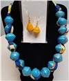 Handmade Blue & Yellow Necklace Set