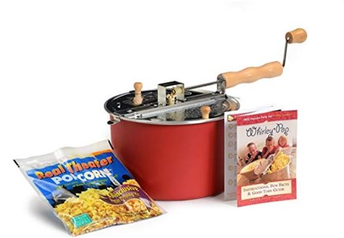 Red Whirley Stovetop Popcorn Popper with Popping Kit