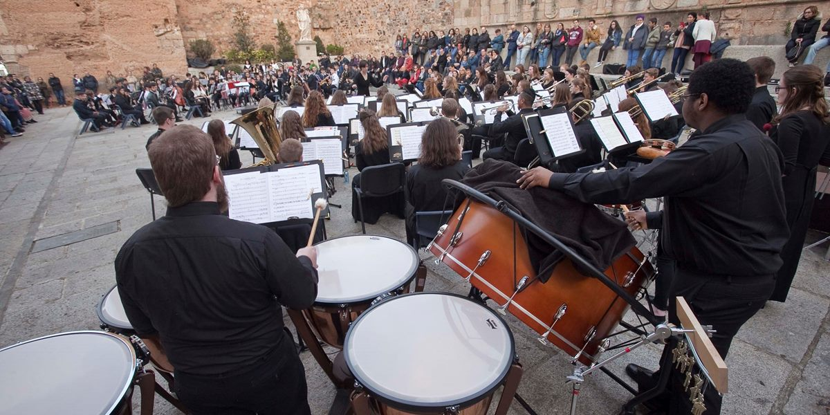Members of the Symphonic Band perform in Spain during their spring tour.