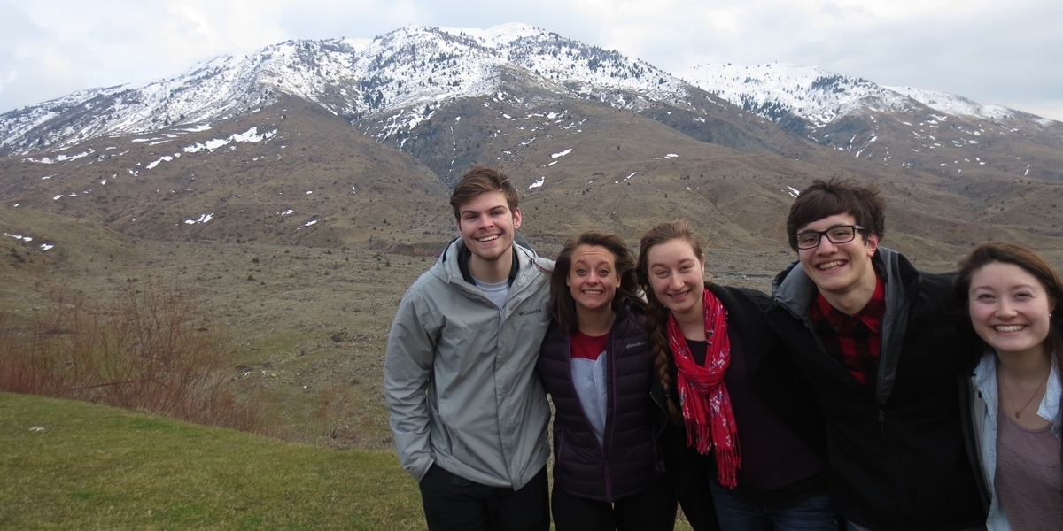 Members of the Drama Ministries Ensemble hike in Albania.