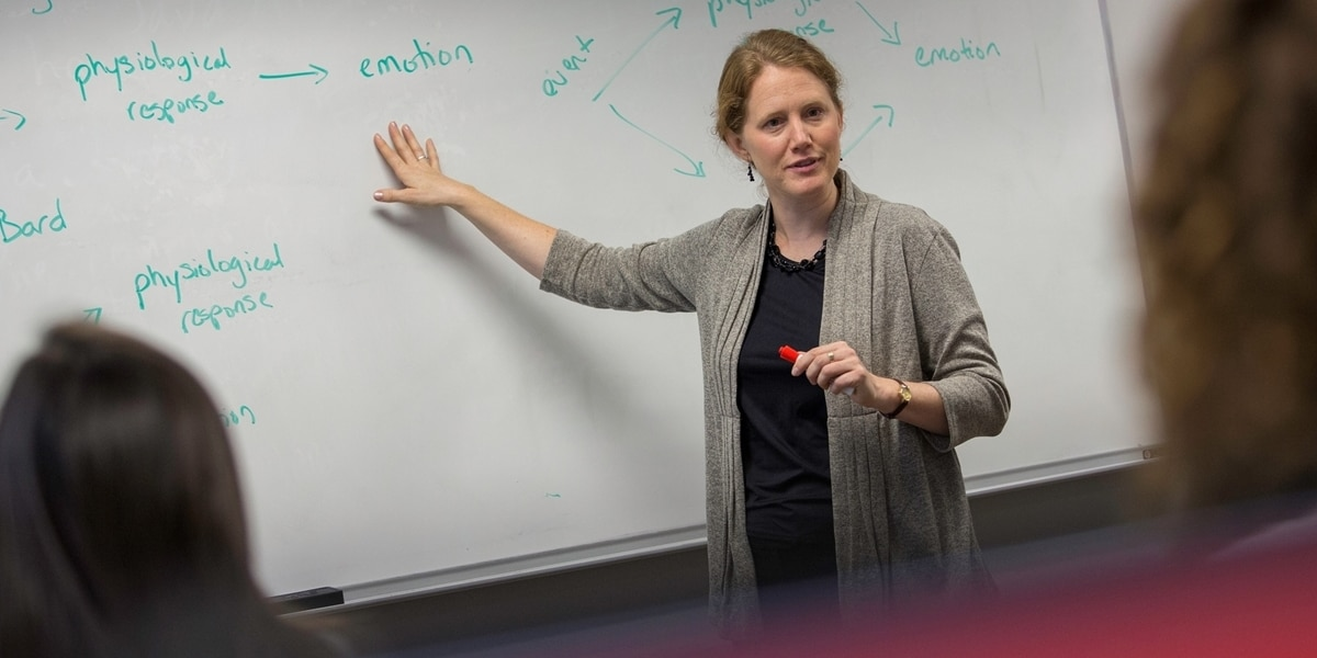 A Northwestern professor lectures during class.