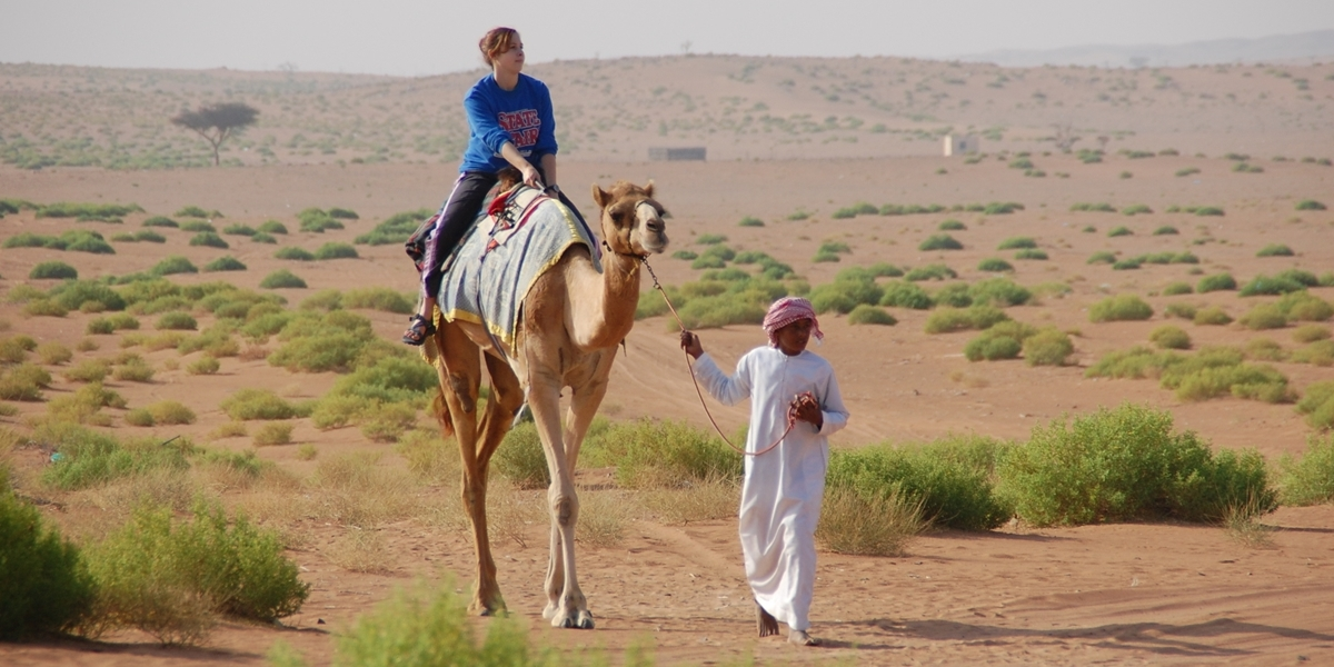 A Northwestern student rides a camel during her semester in Oman.