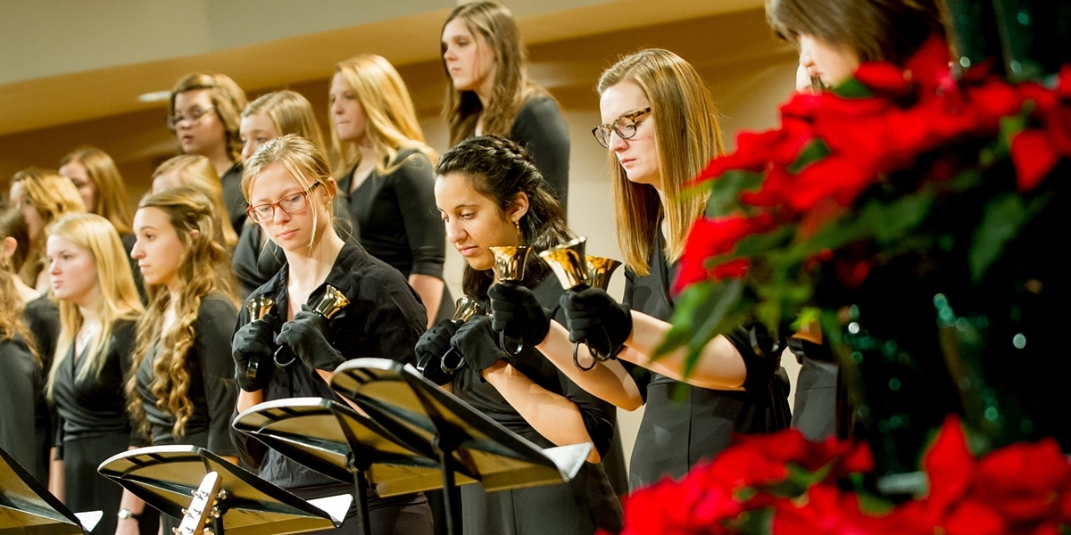 Music ensembles perform during the Christmas Vespers concert in Christ Chapel.