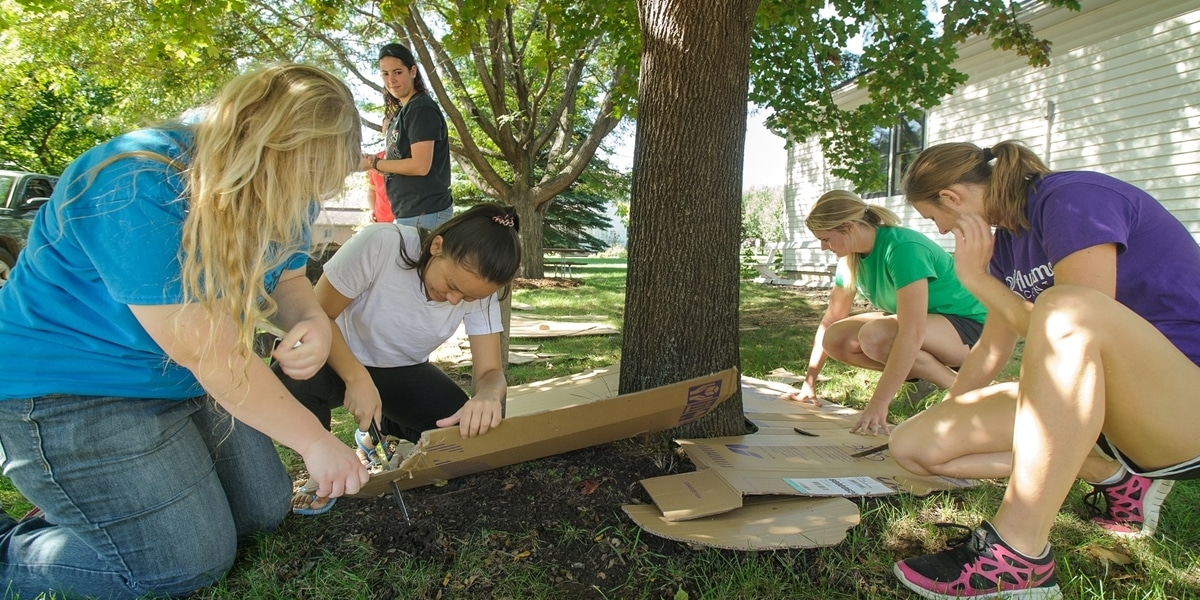 Northwestern students help with landscaping as part of their service-learning experience.