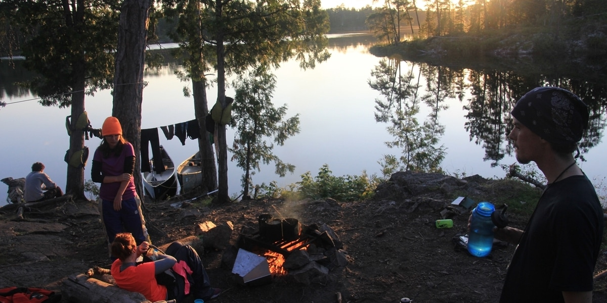 Northwestern students make camp during Portage.