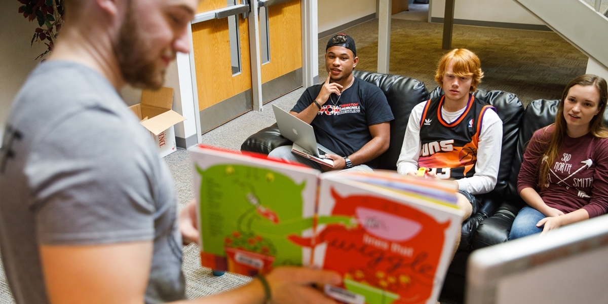 An education major prepares for an assignment in Children's Literature.