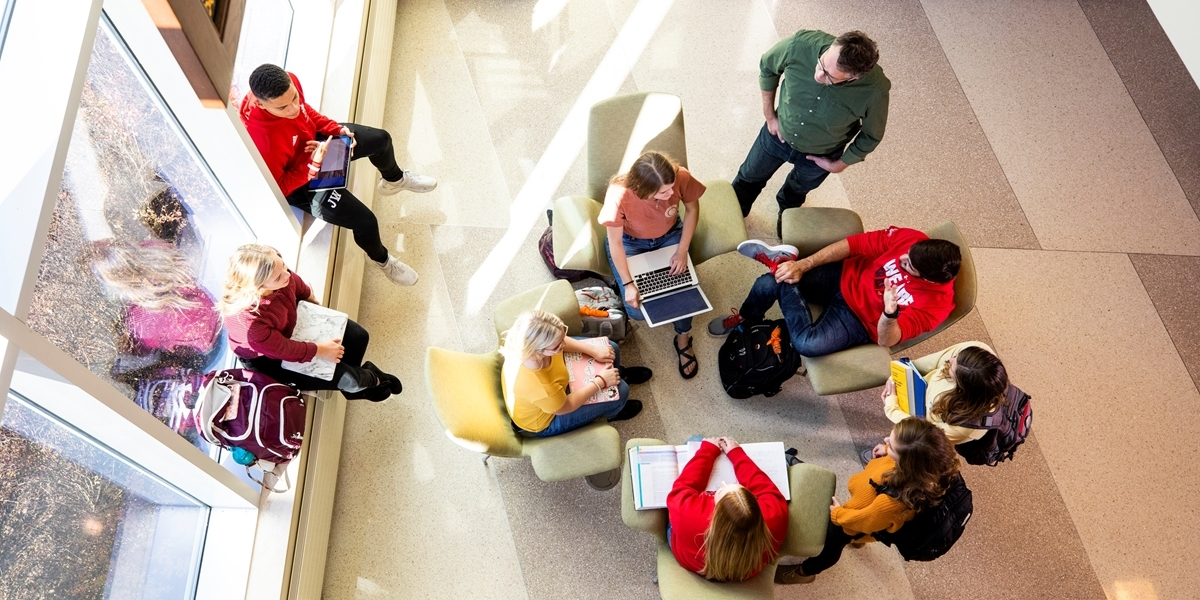 Group of students studying in the DeWitt Learning Commons.