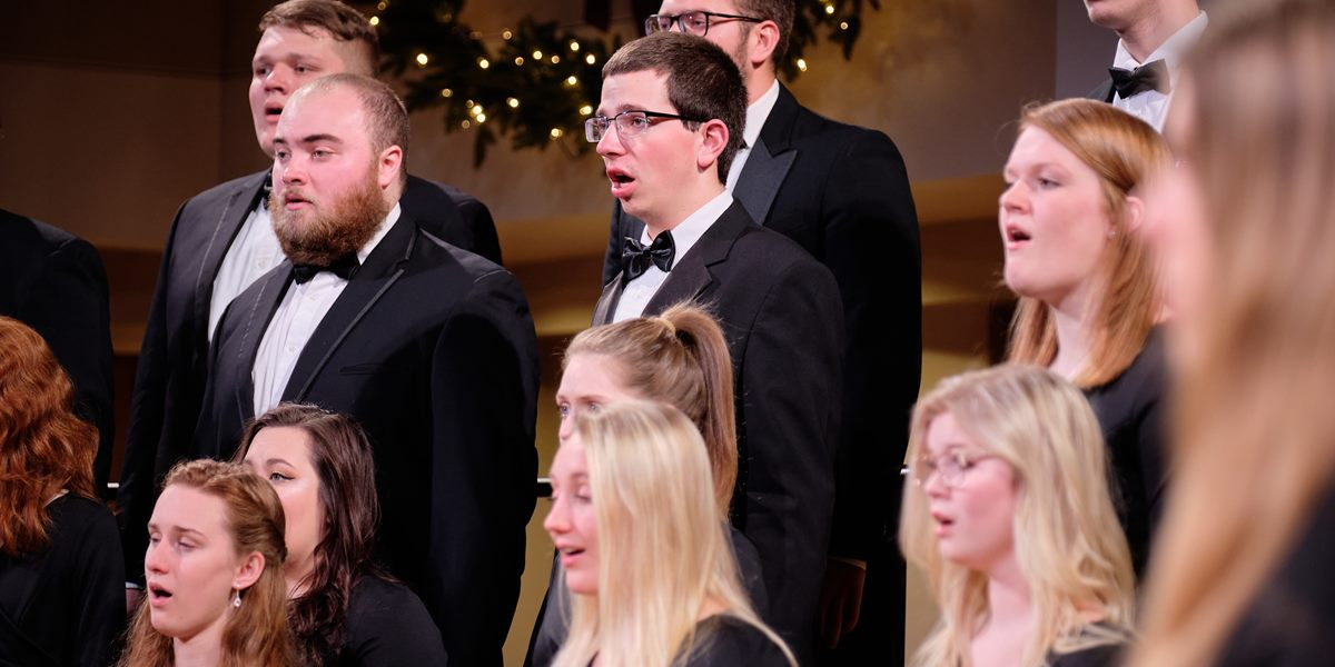 A cappella Choir members sings during the Christmas Vespers service.