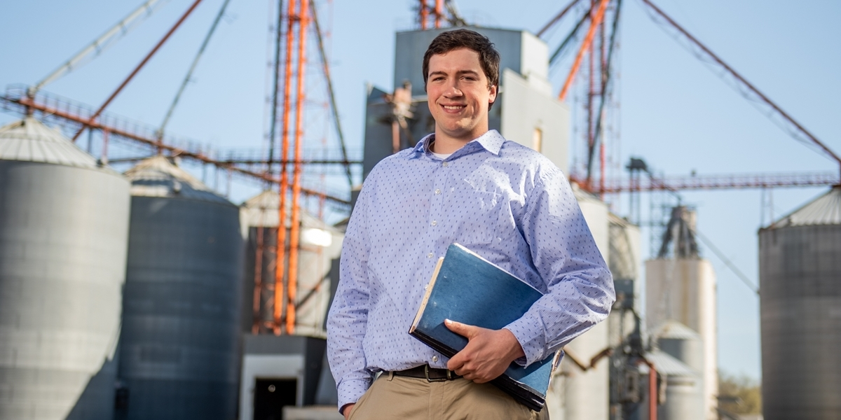 A Northwestern agricultural business major at his internship.