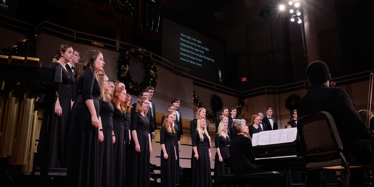 The A cappella Choir sings during Christmas Vespers.