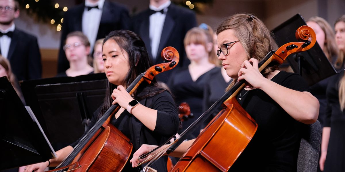Orchestra members perform during Christmas Vespers.