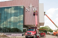 Installation of Northwestern logo on side of new science building