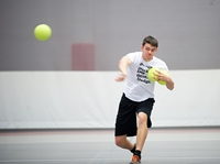 Student playing dodgeball