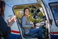 Northwestern nursing students touring a helicopter on Northwestern's campus