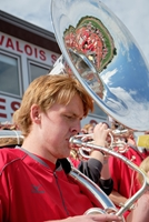 Red Raider Athletic Band member playing a tuba